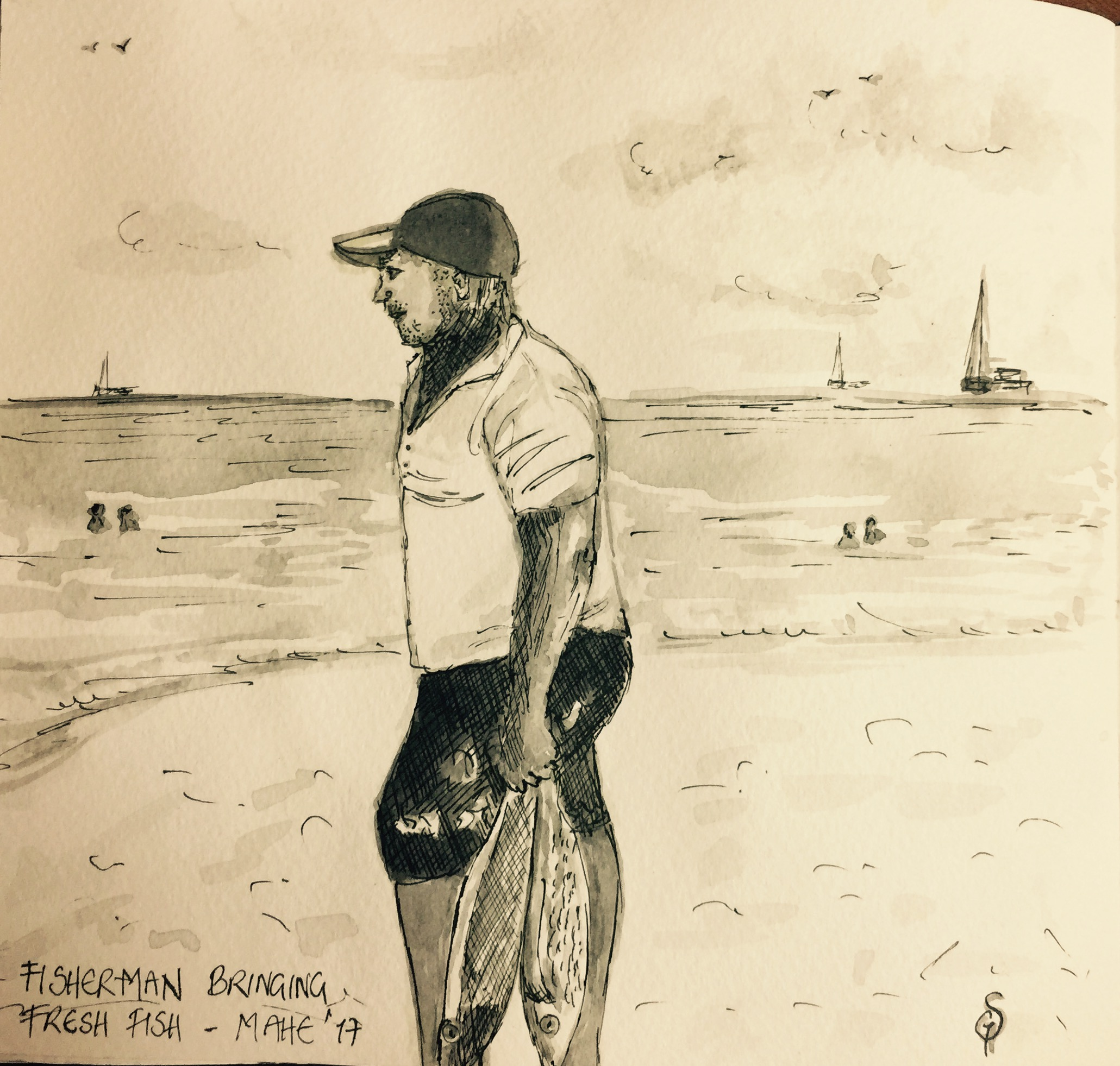 Fisherman - plein air sketch
